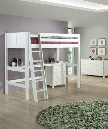 White Panel High Loft Bed