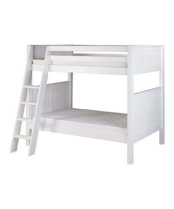 White Panel Angle Ladder Bunk Bed