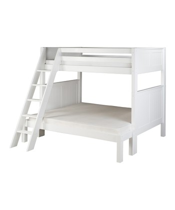 White Panel Angle Ladder Twin & Full Bunk Bed