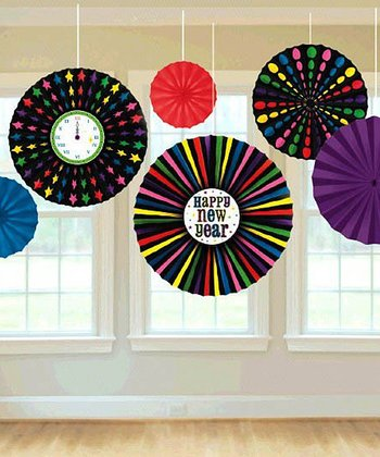 Rainbow New Year's Pinwheel Fan Set
