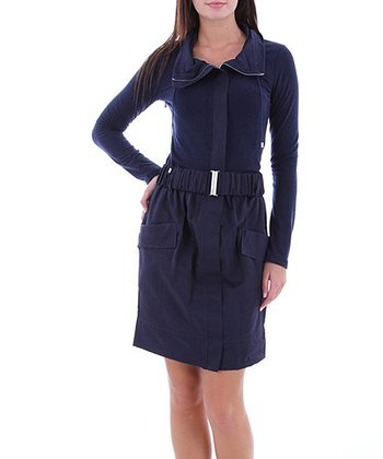 Navy Belted Pocket Dress