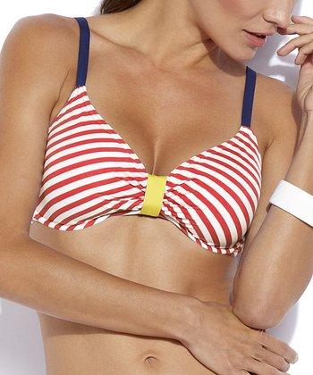 Jag Swim Red Stripe Neon Bikini Top