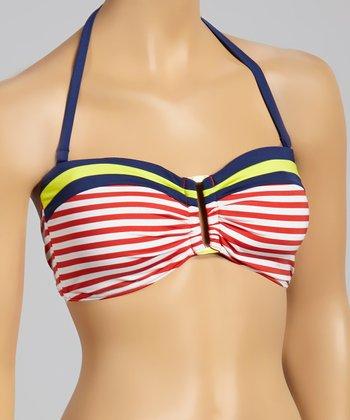 Jag Swim Red & White Stripe Halter Bikini Top