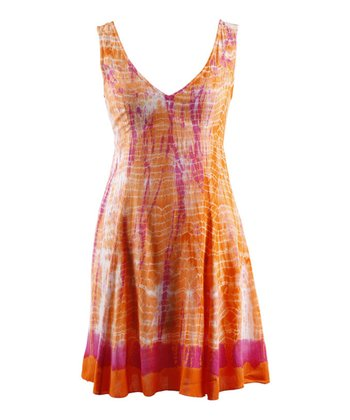 Citrus Chiffon Tie-Dye Sleeveless Dress
