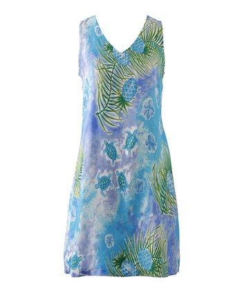 Peppermint Bay Blue Beach Sleeveless Dress