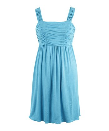 Turquoise Ruched Empire-Waist Dress