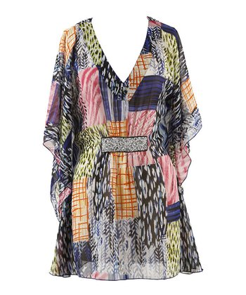 Melange Patchwork Cape-Sleeve Dress