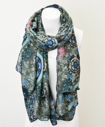 Gray Medallion Scarf