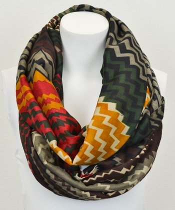 Brown & Red Chevron Infinity Scarf