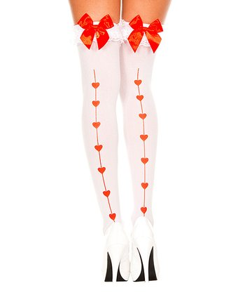 White & Red Bow Thigh-High Stockings