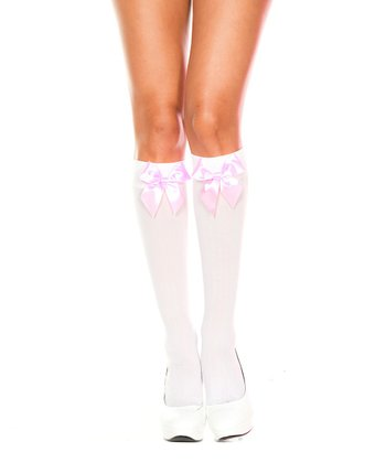White & Baby Pink Bow Knee-High Stockings