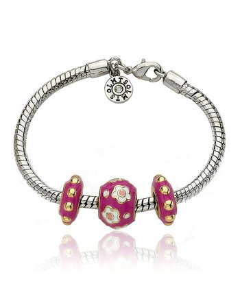 Gold & Hot Pink Flower Slide Bracelet