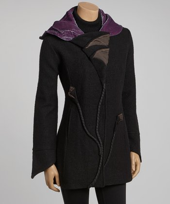 Black & Plum Winter Calla Lily Wool Coat - Women