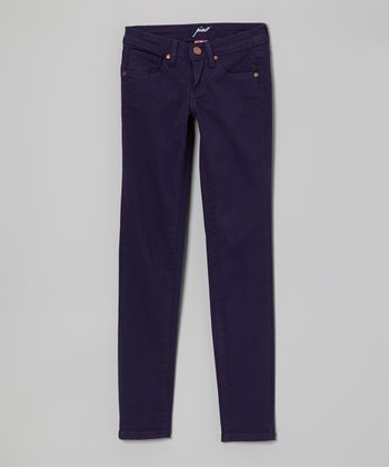 Eggplant Poplin Skinny Pants - Girls