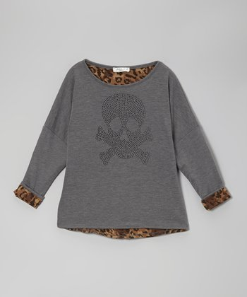 Charcoal Leopard Skull Dolman Top - Girls