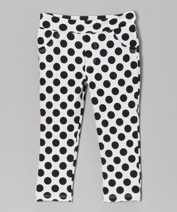 White & Black Polka Dot Jeggings - Toddler