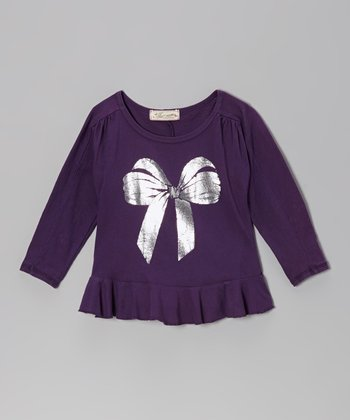 Dark Purple & Silver Bow Tee - Toddler & Girls