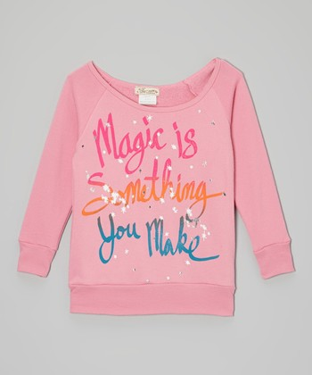 Pink 'Magic Is Something You Make' Raglan Top - Girls