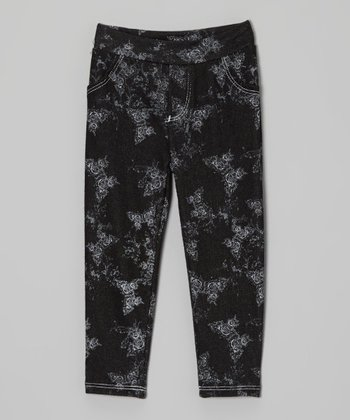 Black & White Butterfly Jeggings - Toddler