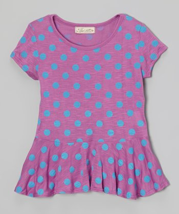 Purple & Blue Polka Dot Peplum Top - Girls