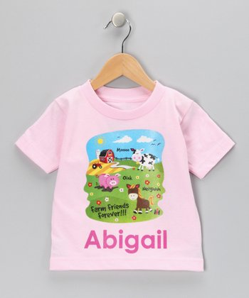 Light Pink Farm Friend Personalized Tee - Infant, Toddler & Girls