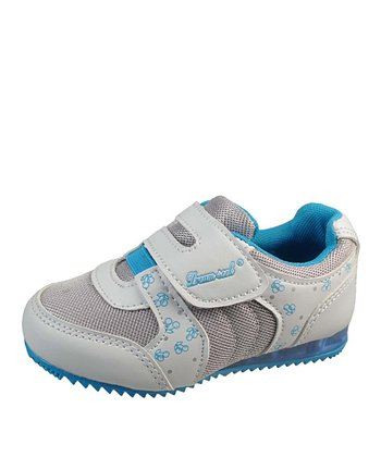 White & Aqua Velcro Strap Light-Up Sneaker
