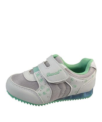 White & Mint Velcro Strap Light-Up Sneaker