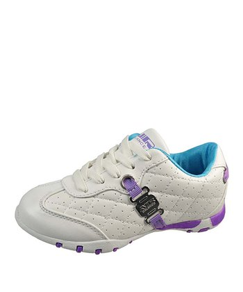 White & Purple Quilted Lace-Up Sneaker