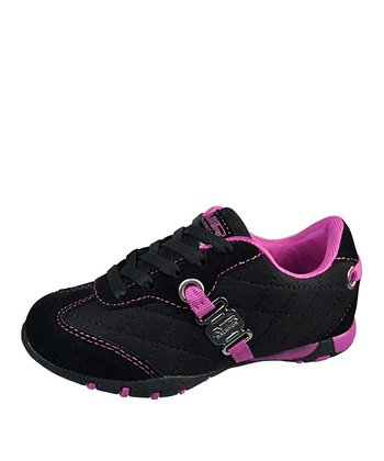 Black & Fuchsia Quilted Lace-Up Sneaker