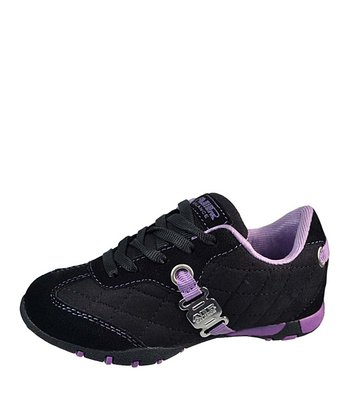 Black & Purple Quilted Lace-Up Sneaker