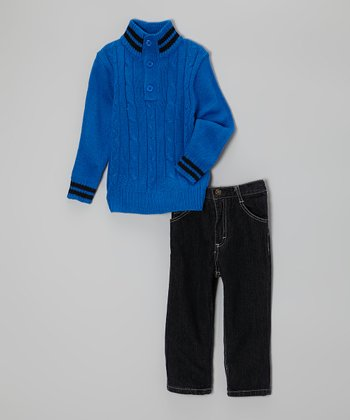 Royal Blue Button-Up Sweater & Jeans - Infant & Toddler