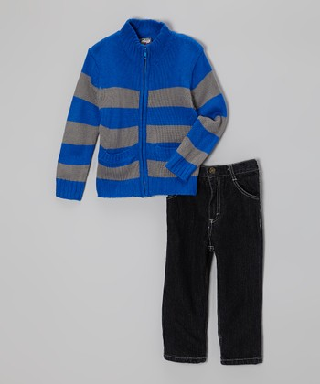 Royal Blue & Gray Zip-Up Stripe Sweater & Jeans - Infant & Toddler