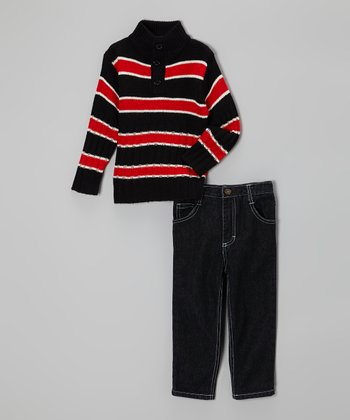 Red & Navy Stripe Sweater & Jeans - Infant, Toddler & Boys