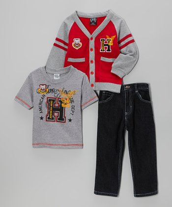 Red & Gray Cardigan Set - Infant & Toddler