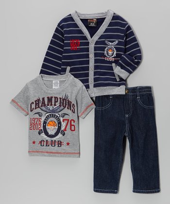 Navy & Gray Cardigan Set - Infant & Toddler