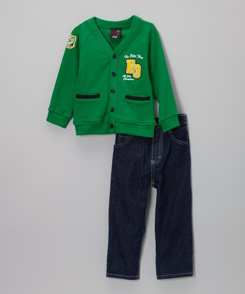 Green Fleece Cardigan & Jeans - Infant, Toddler & Boys