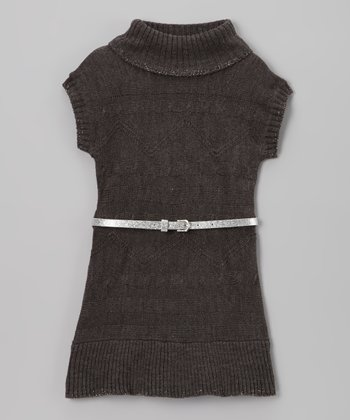 Charcoal Belted Sweater Dress - Girls