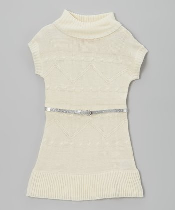 White Belted Sweater Dress - Girls