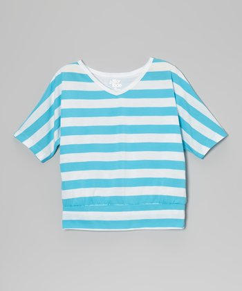 Blue Stripe Dolman Top - Girls