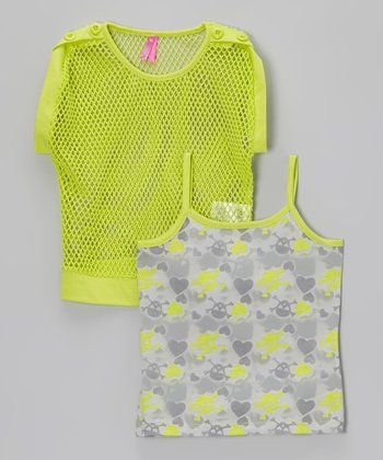 Gray Camo Tank & Lime Mesh Top - Girls