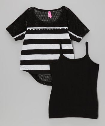 Black Stripe Tank & Mesh Crop Top - Girls