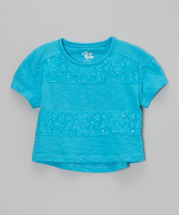 Blue Sequin & Lace Top - Toddler & Girls