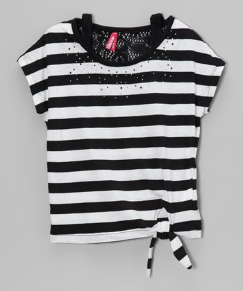 Black Stripe & Sequin Tie Tee - Girls