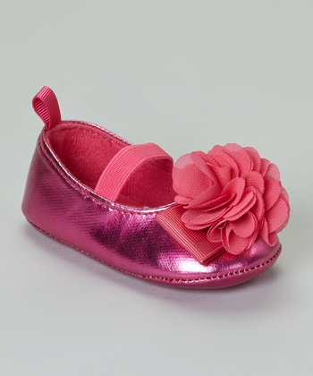 Pink Metallic Flower Flat