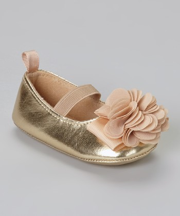 Gold Metallic Flower Flat