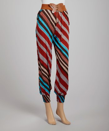 Red & Gray Stripe Harem Pants - Women