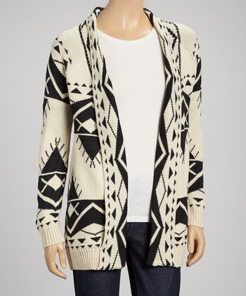White & Black Aztec Open Cardigan