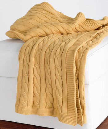 Yellow Cable-Knit Throw