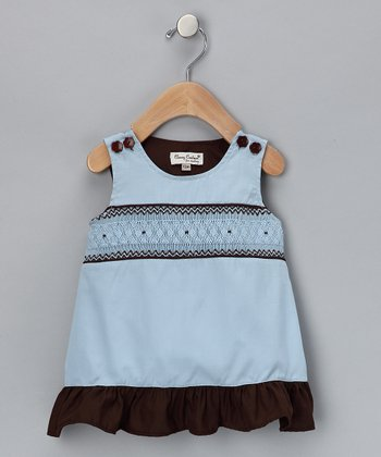 Blue & Brown Smocked Jumper - Infant & Toddler