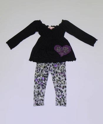 Black Peasant Tunic & Cheetah Flower Leggings - Toddler & Girls